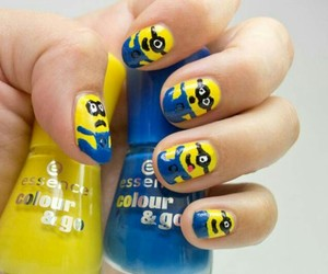 minions, nails, and blue image