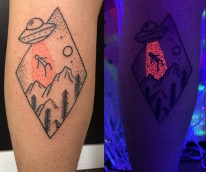 tattoo, alien, and neon image