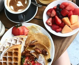 food, breakfast, and girl image
