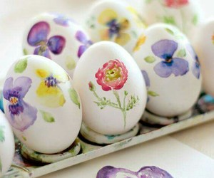 easter, easter eggs, and pansy image