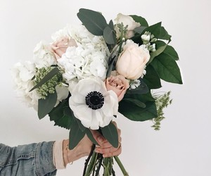 flowers, bouquet, and white image