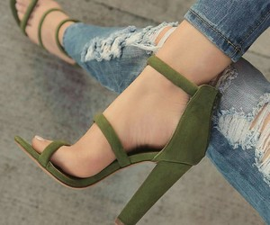 green, heels, and straps image