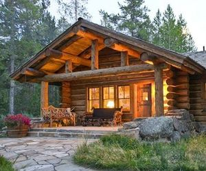 cabin, log homes, and homes image