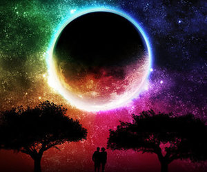 moon, tree, and rainbow image