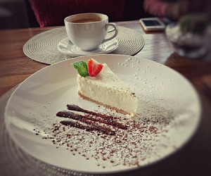 cappuccino, cheesecake, and sweet image