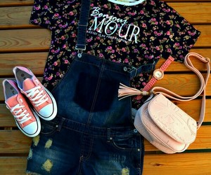 converse, overalls, and ootd image
