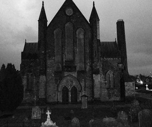 black and white, grave, and church image