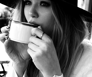 coffee, girl, and black and white image