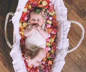 baby, flower, and girl image