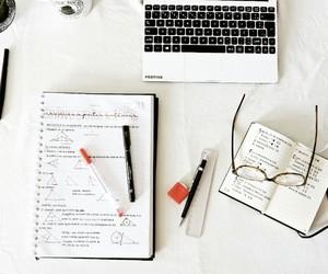 book, desk, and uni image