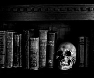 book, skull, and black and white image
