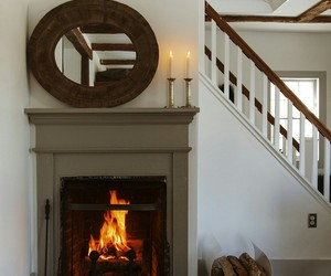 farmhouse, home decor, and fireplace image