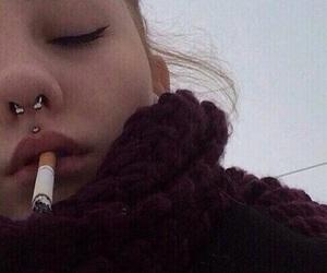 piercing, cigarette, and smoke image