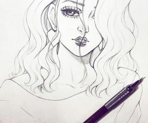 girl, sketch, and art image