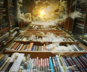 books, clouds, and reading image
