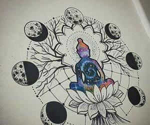 drawing, moon, and Buddha image