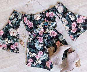 boots, flowers, and romper image