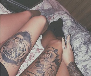 goals, leg tattoo, and tiger image