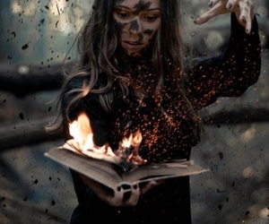 book, fire, and witch image