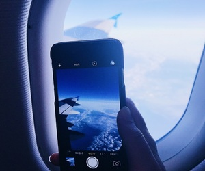 airplane, airport, and blue image