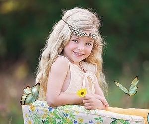 butterflies, flowers, and girl image