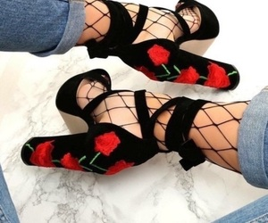 black, rose, and shoes image