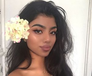 girl, flowers, and makeup image