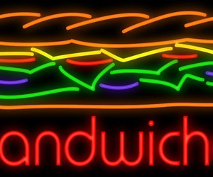 art, food, and neon sign image