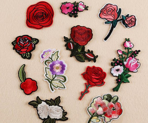flowers, roses, and patches image