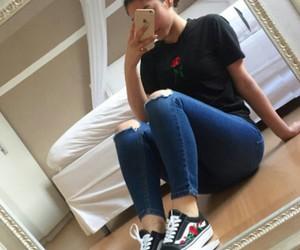 fashion, girls, and mirror selfie image