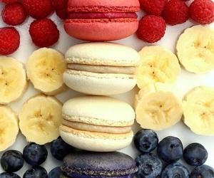 food, banana, and macarons image