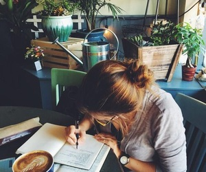 girl, study, and coffee image