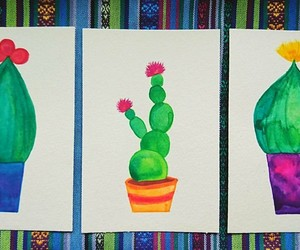 art, cactus, and watercolor image