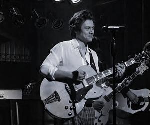 black & white, guitar, and singer image