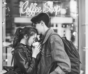 love, couple, and coffee image