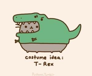 t-rex, pusheen, and cat image