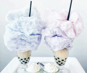 food, cotton candy, and drink image