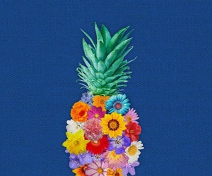 wallpaper, flowers, and pineapple image