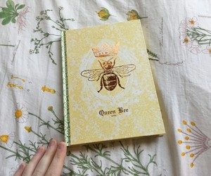 bee, book, and yellow image