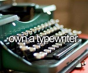 bucket list, girl, and typewriter image