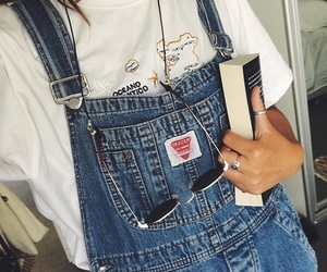 aesthetic, book, and dungarees image