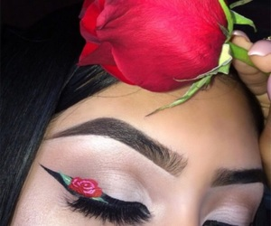 eye makeup, floral, and mink lashes image