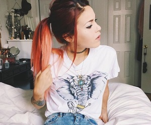 hair, outfit, and red hair image