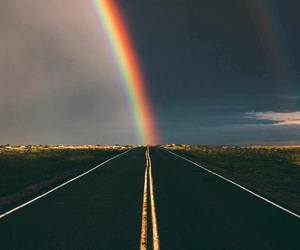 rainbow, sky, and road image
