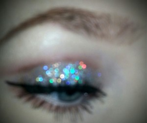 glitter and holographic image