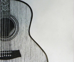 acoustic guitar, black and white, and drawing image