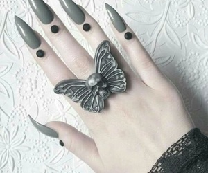butterfly, nails, and ring image