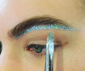 glitter, makeup, and eyebrows image