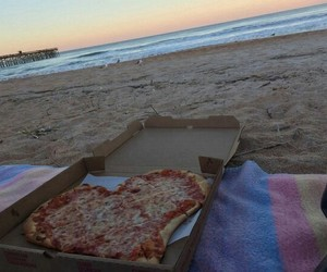 beach, pizza, and ocean image