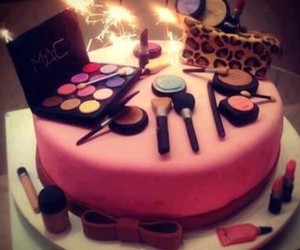cake, makeup, and pink image